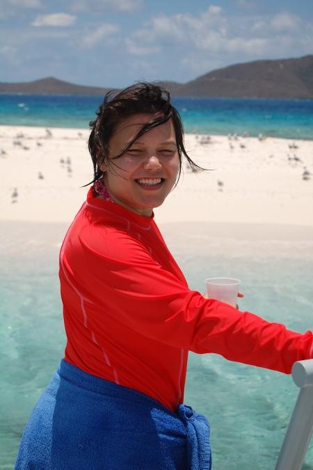 Dana aboard Captain Kinto's Ponce de Leonafter snorkelling