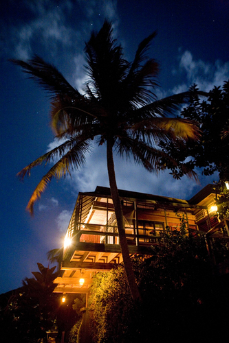 Beachfront Villa at Night
